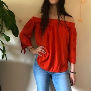 Off the shoulder BRIGHT orange shirt